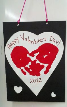 Red Hand Print Heart- Art project for Valentine's Day, Mother's Day, Father's Day | TeacherTime123