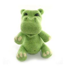 Hippo Needle Felted Green Hippo Soft Sculpture by RolyzTreasures on etsy.