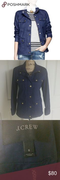 J. Crew Navy Blue Downtown Jacket Excellent Condition   Some oxidation on gold buttons but not noticebale   Navy blue with gold buttons  Size small but can fit a medium   Four pockets in the front.  2 smaller ones on top and 2 larger ones on bottom J. Crew Jackets & Coats