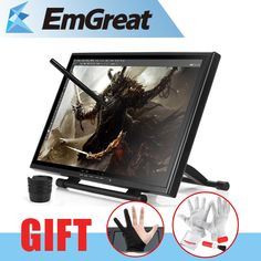 """429.30$  Buy now - http://ali3el.worldwells.pw/go.php?t=2040569435 - """"UGEE UG-1910B Professional 19"""""""" Inches 5MS LCD Monitor Art Graphic Tablet Drawing Digital Digitalizer Board + Glove as Gift"""""""