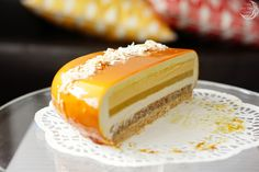 "Entremet Cake ""Tropical Kiss"" - Once in a blue moon. Mango Mousse Cake, Coconut Mousse, Mango Cake, Mango Desserts, Just Desserts, French Desserts, Dinner Party Desserts, Dessert For Dinner, Entremet Recipe"