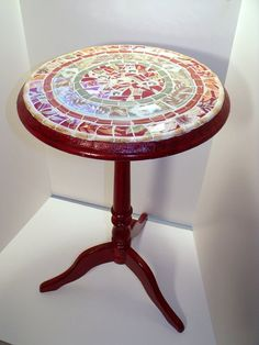 Mosaic Wooden Candlestick Table   Rich Reds and by pinetreemosaics, $75.00