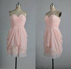 Light Pink Sweetheart Strapless Short Chiffon Prom Dress Hot Homecoming Dress Ruffle Party Dress Bridesmaid Dress Ball Gown Custom