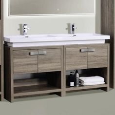 The Levi free standing bathroom vanity from Kube Bath features one large soft closing drawer for storing bathroom essentials and a cubby-hole to store towels for that hotel look. The clean, contemporary lines are enhanced by a crisp white elegantly designed through sink.