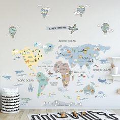 Wall Stickers World Map, Kids Room Wall Stickers, Nursery Wall Decals, Map Nursery, Nursery Wallpaper, Mural Wall, Nursery Decor, World Map Mural, Kids World Map