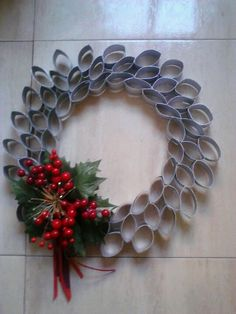 Talk about a unique wreath - made out of toilet paper rolls!