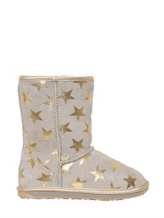 EMU AUSTRALIA - STAR PRINTED SUEDE & MERINO WOOL BOOTS - LUISAVIAROMA - LUXURY SHOPPING WORLDWIDE SHIPPING - FLORENCE