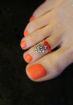 Toe Ring  Silver Heart Charm  Ruby Stretch by FancyFeetBoutique, $6.25