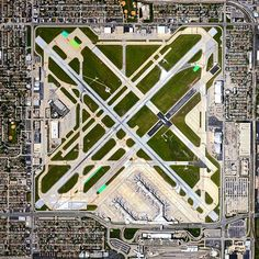 Because Chicago Midway International Airport is surrounded by residential areas and other buildings, runways are shorter for landings and longer for takeoffs in order to provide proper obstacle clearance.