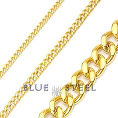 """PIN IT TO WIN IT! Gold God: """"Extreme"""" is the code word. This Stainless Steel Chain Necklace with Anodized Gold will set the temperatures rising with its extreme finsh with locks that are simple but striking. If you are looking for a glossy rich look with an attitude, this is exactly what you need. Gold God is available in your choice of two widths.      $99.00  www.buybluesteel.com"""