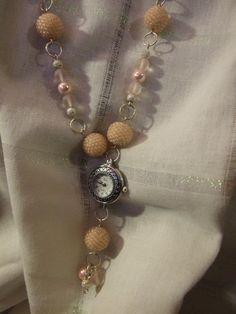 Watch + Necklace Watch Necklace, Beaded Necklaces, Beadwork, Watches, Jewelry, Jewlery, Wristwatches, Jewerly, Pearl Embroidery