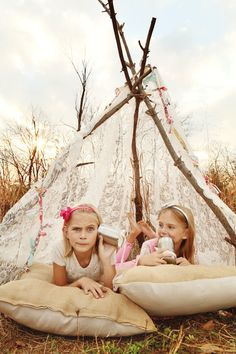 Girls location session with lace teepee on inspire me baby