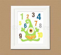 Monster Numbers Nursery Art Print, 8x10, Kids Room Decor, Baby / Children Wall Art, navy, green, yellow, orange, brown, baby boy room decor on Etsy, $14.95