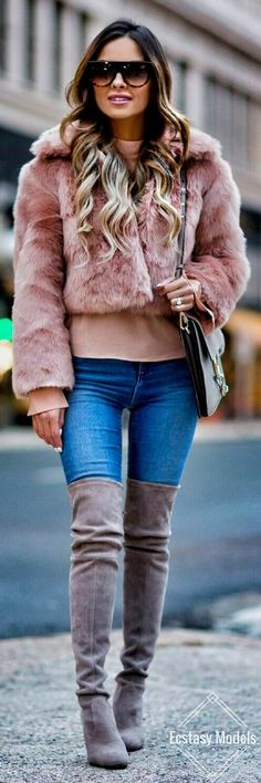 Faux Fur Pink Jacket // Fashion Look by Mia Mia Mine