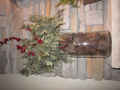 Christmas Decoration for the Mantle - Pine Cones hold the Greenery in Place