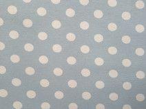 Baumwolljersey, hellblau, weiße Punkte, Dots