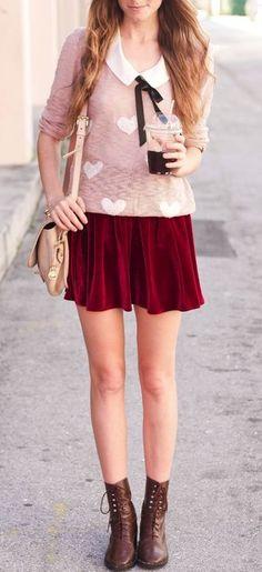 Heart sweater and velvet skirt