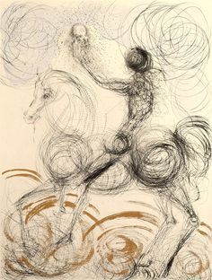 Salvador Dali, Faust The pen strokes and swirls create an image but not in full detail.