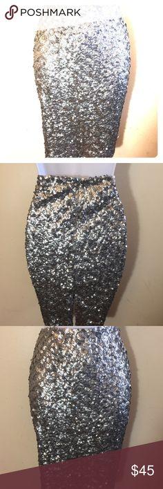 Calvin Klein Silver Sequin Skirt Size 8 Calvin Klein Silver Sequin Skirt Size 8 100% Polyester Calvin Klein Skirts Midi