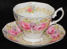 Vintage Royal Albert England Serena Pink Rose Porcelain Bone China Teacup/Saucer #RoyalAlbert