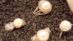 #ManningJewelry  has been to market. Come see our stunning new arrivals including these diamond and pearl rings.