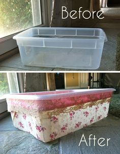 Container Makeover in 3 Easy Steps - Plastic storage container DIY So so sorry it has taken me ages to post again. I have fallen victim of summeritus - when one fully embraces the free. using fabric, lace & Mod Podge to create a cute container . Diy Storage Containers, Diy Storage Boxes, Craft Room Storage, Storage Ideas, Plastic Crates, Plastic Bins, Plastic Storage, Plastic Containers, Plastic Container Crafts