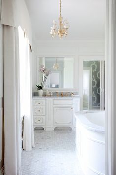Grey and gold accents.   Love floor.  Elegant