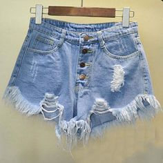 High Waist Worn Loose Burr Hole Denim Shorts ($19) ❤ liked on Polyvore featuring shorts, short jean shorts, tassel shorts, cotton shorts, high-waisted jean shorts and high waisted cotton shorts