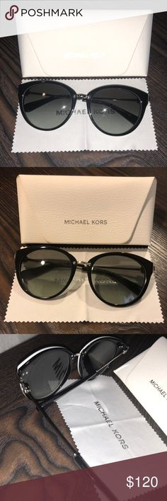 Michael Kors Sunglasses These authentic MK Sunglasses are in perfect condition and so adorable. They were recently cleaned and adjusted. No scratches or flaws! Barely worn. Black and white with silver metal!  🖤All items are in great condition and come from a smoke-free home 🖤I consider reasonable offers but NO TRADES!! 🖤Bundle 3+ items for 15% off 🖤Feel free to ask for more pics or measurements 🖤Comment if you have any questions Michael Kors Accessories Glasses