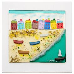 Colourful Fused glass Beach scene    by DebbieLordFusedGlass