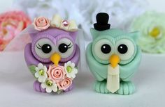 Love bird owl wedding custom cake topper radiant by PerlillaPets