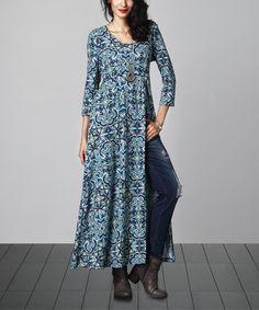 Look what I found on #zulily! Blue Floral Empire-Waist Split-Hem Tunic #zulilyfinds
