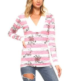 Urban Love Pink & White Stripe Hooded Top | zulily