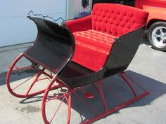 my parents have one of these! Horse Wagon, Horse Drawn Wagon, Country Christmas, Christmas Fun, Christmas Sleighs, Vintage Ironing Boards, Wooden Wagon, Old Wagons, Dashing Through The Snow