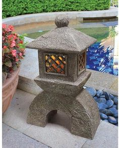 Japanese Pagoda Illuminated Lantern Statue: Set of Two