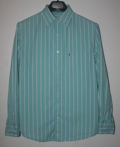 Mossimo Button Front Long Sleeve Shirt Striped Turquoise and White Medium #Mossimo #ButtonFront