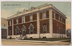 Meadville Pennsylvania Post Office Chestnut Street View 1912