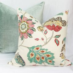 Pretty fall floral print in shades of golden yellow, brick red, teal and brown on ivory background. Linen blend fabric by Robert Allen.  Same fabric on both sides, Pattern placement will vary.  Fits pillow insert selected in menu. Actual pillow case size slightly smaller to achieve fuller fit.  Invisible zipper enclosure.  Serged seams.  Reinforced stress points.  55% linen, 45% rayon.  Dry clean.  Because colors will appear slightly different on your monitor, it is best to order a swatch of…