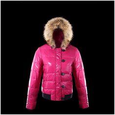 Discount Moncler Short Rose Red Slash and Fur Cap Frauen Mäntel Outlet Moncler Mantel Neu