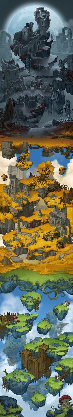 Worldmap - Team Indie by Nadia Enis, via Behance 2d Game Art, 2d Art, Video Game Art, Environment Concept Art, Environment Design, Game Environment, Illustrations, Illustration Art, Level Design