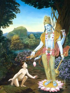 Lord Vishnu Apprears To Dhruva, oil painting, classical realism by Dominique Amendola