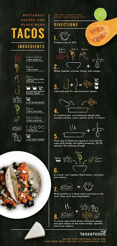 Sriracha Marinated Butternut Squash and Black Bean Tacos Illustrated Recipe