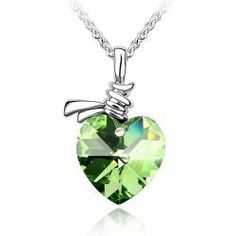 2014 New Fashion Beautiful Simulated Diamond Crystal Heart Pendant Necklaces Jewelry Holiday Sale for Women Ladies Pearl Pendant Necklace, Green Necklace, Crystal Pendant, Cheap Necklaces, Crystal Brooch, Women Jewelry, Sweet Style, Swarovski, Vintage Heart