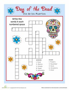 Worksheets Dia De Los Muertos Worksheets worksheets day of the dead and vocabulary on pinterest crossword