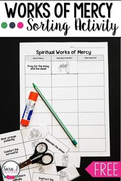 Corporal and Spiritual Works of Mercy Sorting Activity Printable Activities For Kids, Sorting Activities, Bible Activities, Printable Worksheets, Summer Activities, Free Printable, Catholic Religious Education, Catholic Kids, Catholic Homeschooling