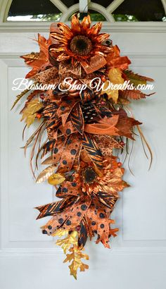 Fall Swag, Autumn Swag, Sunflower Swag, Pumpkin Swag, Fall Grapevine Swag by BlossomShopWreaths on Etsy