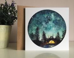 A paper camping sticker, printed from an original gouache painting Perfect for adding something unique to your letters, wedding stationery, laptop, guitar etc! 69mm in size, price is for one sticker ©Studio Factotum 2017