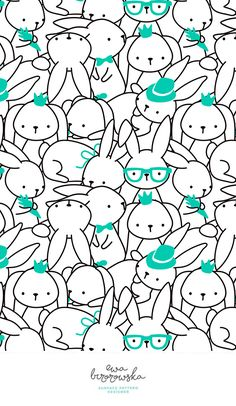 Bunny Mess - minimal two color surface pattern design with bunnies. Unisex scandinavian textile design for children.