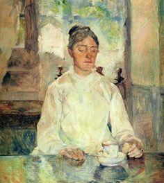 """""""아침 식사를 하는 로트렉 백작부인   (Comtesse Adèle-Zoé de Toulouse-Lautrec, the Artist's Mother)"""" (1883)     로트렉이 그림을 그리던 초기에는 주변의 인물들을 많이 그려내었다. 그의 가족들과 친구들이 특히 주요 소재가 되었는데 이 작품의 그의 어머니이다. 그의 어머니는 이후 로트렉이 사망한 뒤 그의 작품을 모아서 전시회를 열었다."""