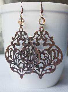 Large copper earrings filigree long dangles